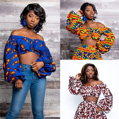 Crop Top Ladies African Clothes 2020 Shoulder Off Long Lantern Sleeve