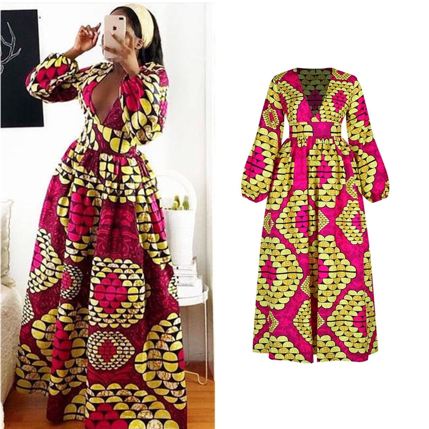 Long Sleeve African Clothes Dresses for Women