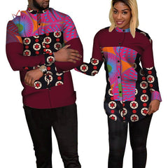 Bazin Riche Couples Clothes Women and Men Patchwork Print Shirt African Clothes