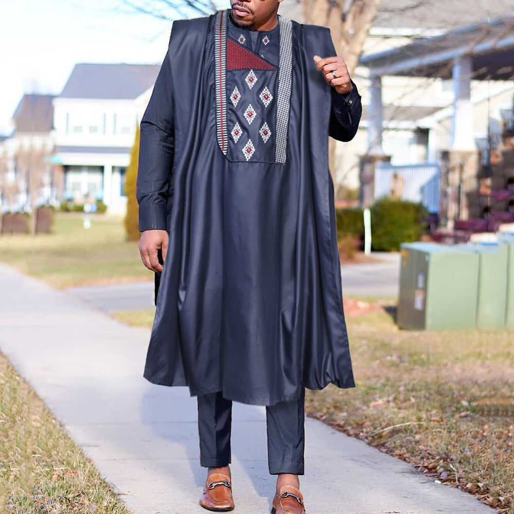 African Agbada For Men Embroidery Bazin Dashiki Clothes