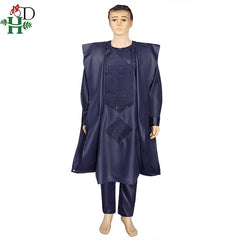 2020 men african clothes tops pants 3PCS agbada suit long sleeve