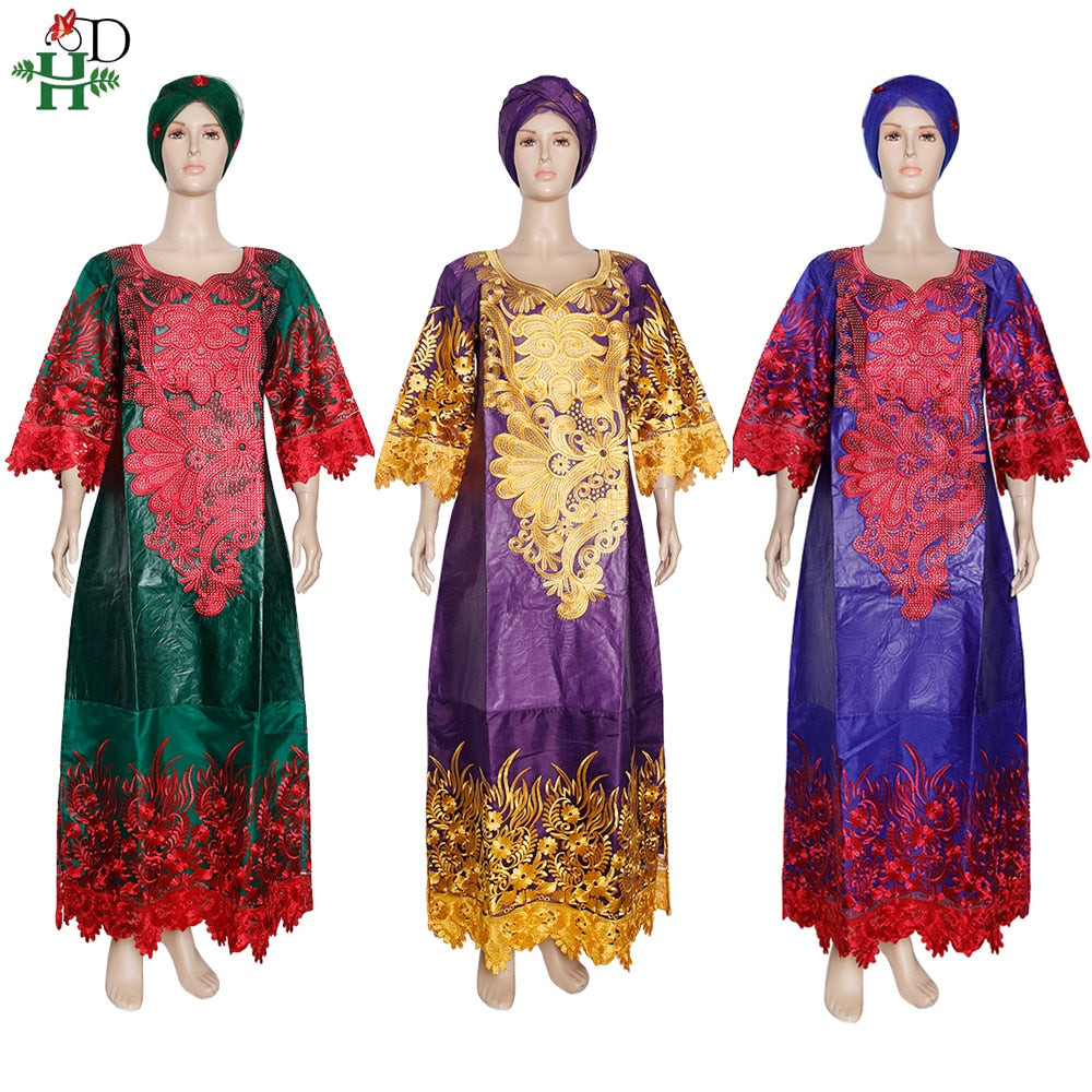 African Maxi Dresses Rich Woman Bazin Dress