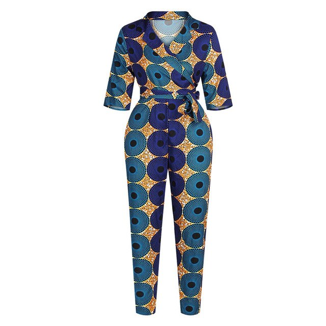 V-neck Women African Clothes Jumpsuit Half Sleeve