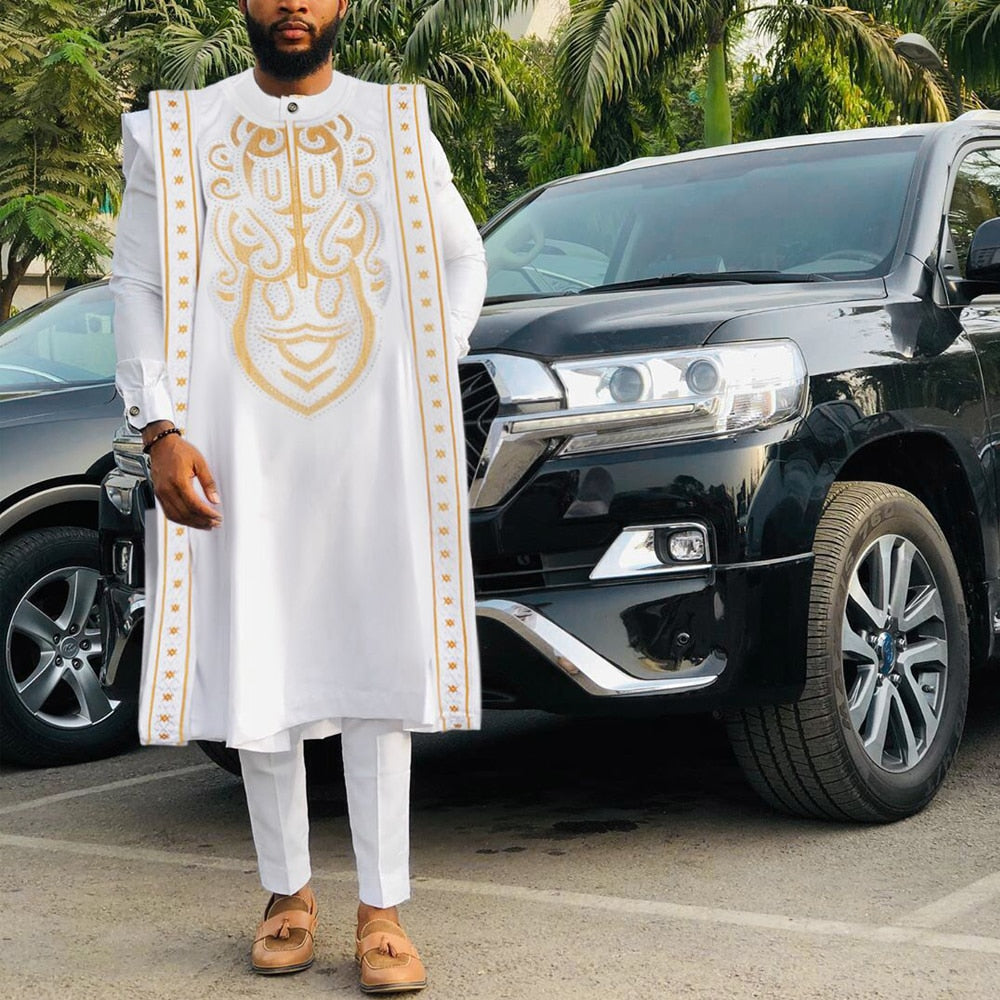 Gold Embroidery White agbada men african traditional clothes