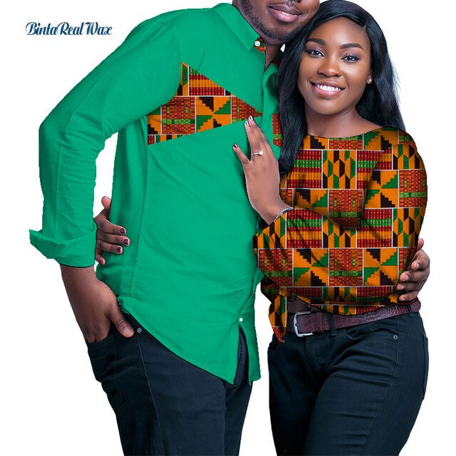 Sweet Lover Couples Clothes African Print Patchwork Shirt for Women Bazin Mens Long Sleeve Shirts