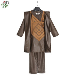 Boys African Clothes Embroidery Shirt Pants 3 Pieces Set