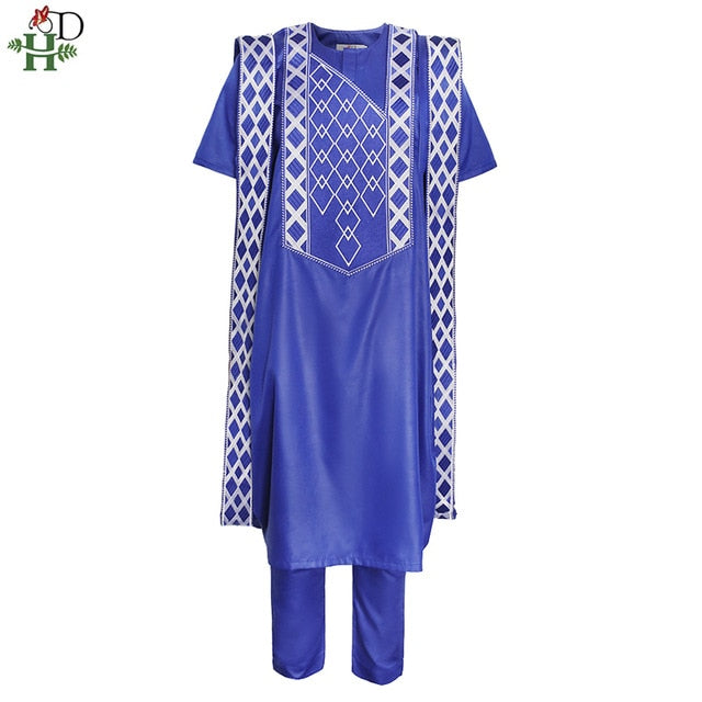 2020 New African Agbada Mens 3 PCS Set