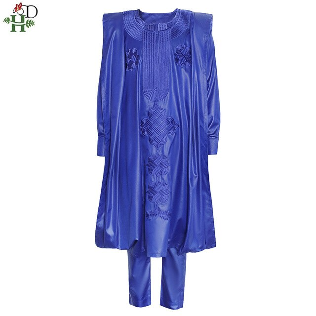 African Men Agbada Embroidery Plus Size Boubou Shirt Pants Suit 3 Piece