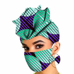 Women Matching Decoration Mask Earring Cotton Head Scarves