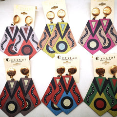 2020 African Pattern Stud Wooden Earrings
