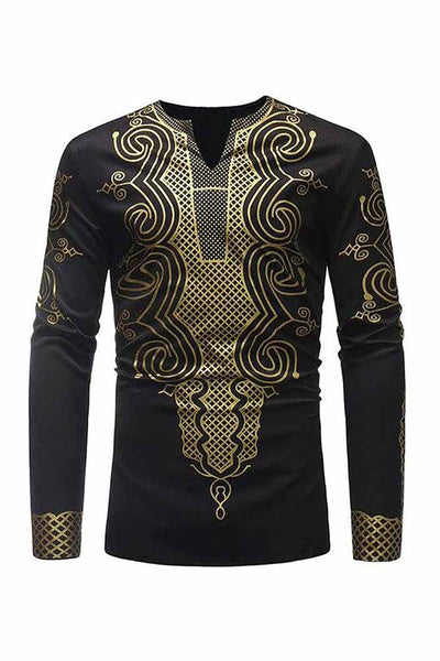 Dashikimall African Dashiki Print Casual Long Shirt