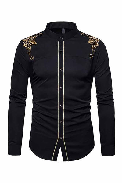 Dashikimall Men's  Long Sleeve Bazin Embroidered shirt