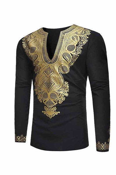 Dashikimall African  Printing V-neck Long Sleeve Men's T-shirt