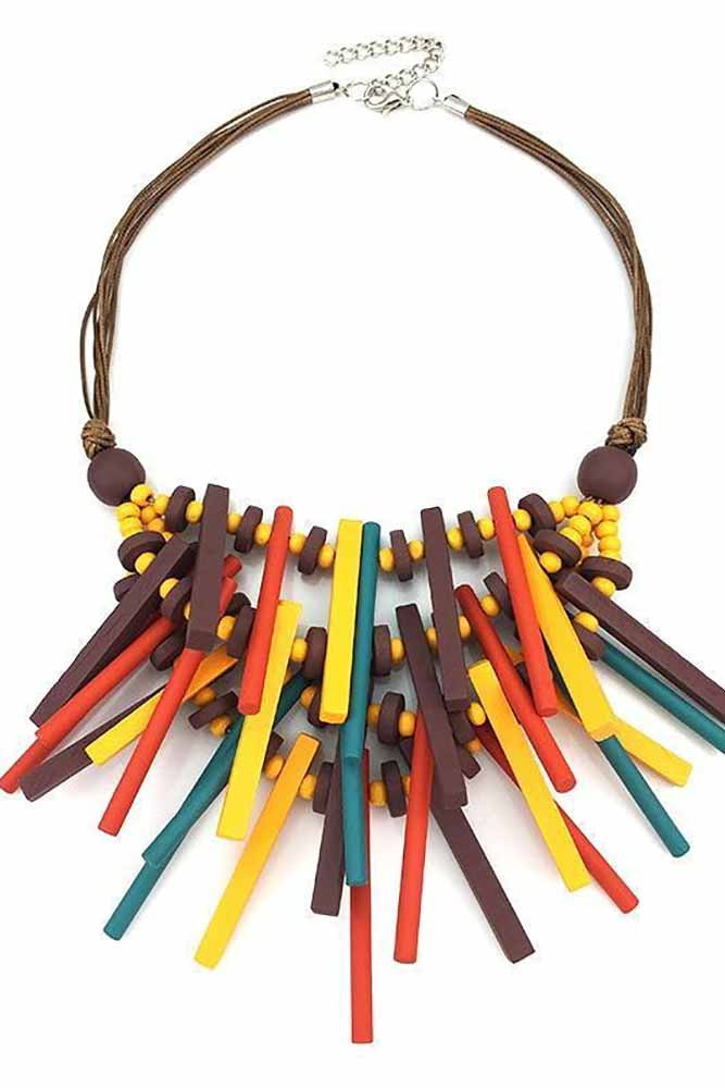 Women Accessory - Bohemian Handmade Wood Statement Necklace