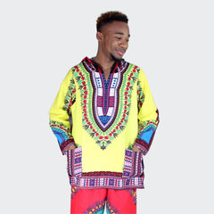 African Long Sleeve 100% Cotton Hoody T-shirt Dashiki with Hood