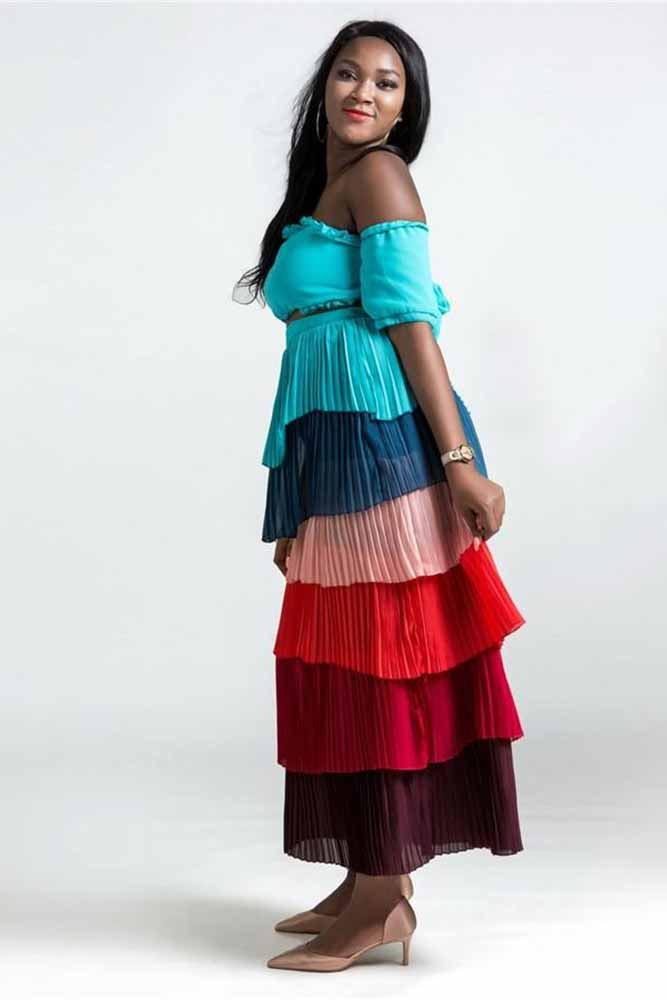 African Riche Bazin Rainbow Top And Skirt Set