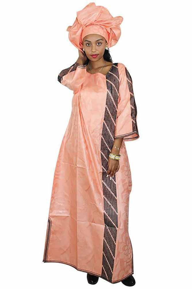 Dashikimall Women Embroidery Long Dress With Scarf