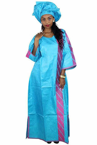 Women Embroidery Long Dress With Scarf