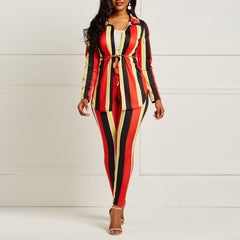 Striped Pant Suit Set Women Two Piece Long Sleeve