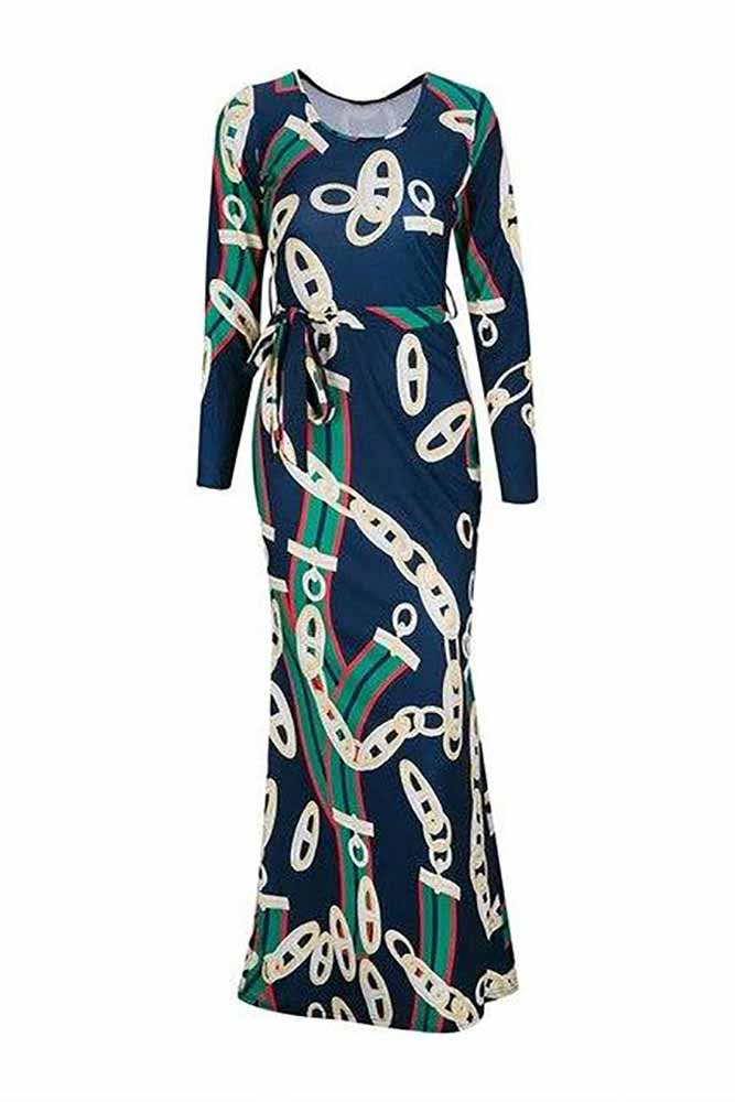 Dashikimall Trendy Gold Chain Printed Long Sleeve Belted Maxi Dress