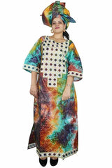 Dashikimall  Printed Material Embroidery Design Long Dress With Scarf