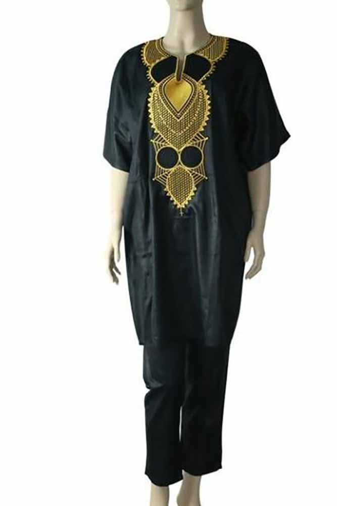 Women  Dashiki Suits Tops Pant Embroidery Outfit Set
