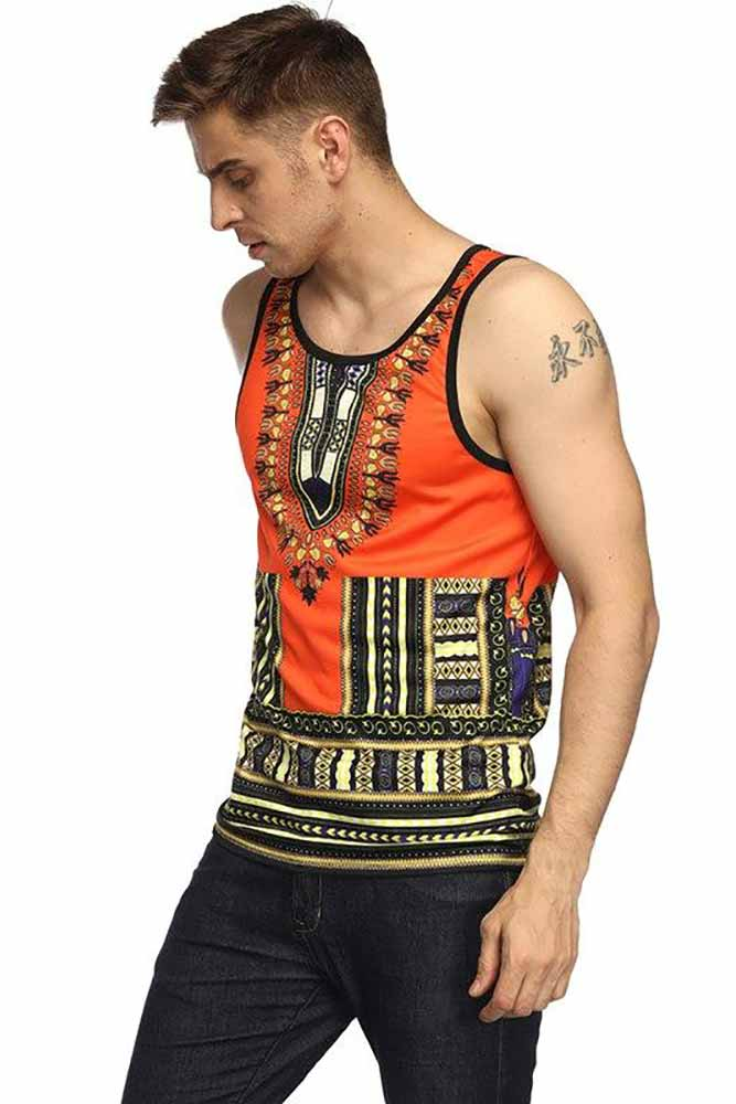 African Dashiki Print Striped Tee Shirt