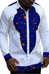 African Patchwork Turn Down Collar Shirt