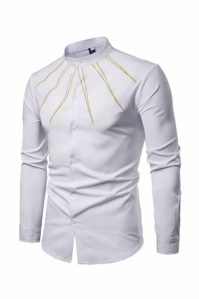 Embroidery Mandarin Collar Dress Shirts
