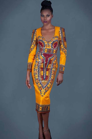 Dashikimall Traditional V-neck Dress