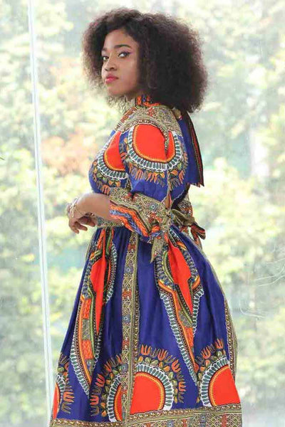 African Dashiki Wax Print Dress