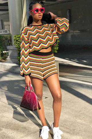 African Traditional Wavy Stripe Print Set