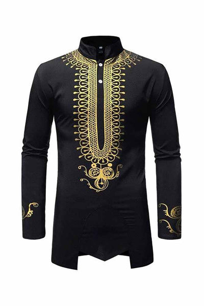 Dashikimall African Hip Hop Stand Collar Shirt