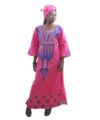 Ladies Dress With Embroidery Head Wrap Women Maxi Dress African Print Dresses