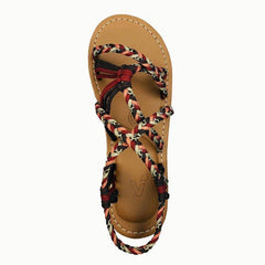 Women Cross-Tied Weave Beach Flats Sandals