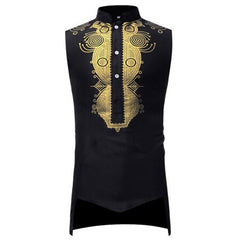 Dashikimall African Sleeveless Stand Collar T-shirt