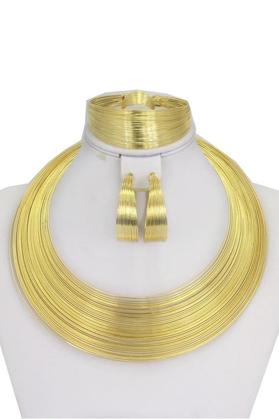 Jewelry Sets - African Wedding Gold Wire Charm Necklace Bracelet Earrings Sets