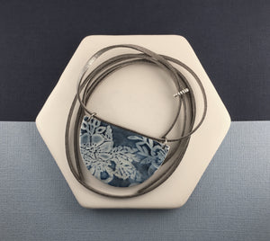 Blue porcelain statement necklace