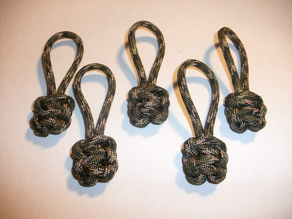 RedVex Paracord Zipper Pulls / Lanyards - Lot of 5 - ~2.5 - Woodland Camo