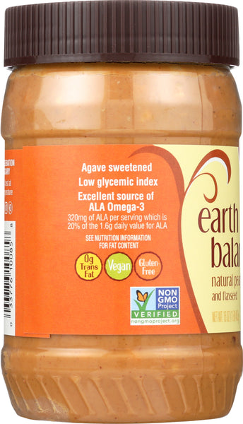 EARTH BALANCE: Natural Peanut Butter & Flaxseed Crunchy, 16 Oz