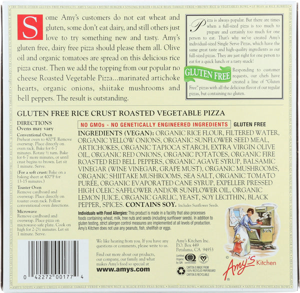 AMYS: Single Serve Rice Crust Roasted Vegetable Pizza, 6 oz