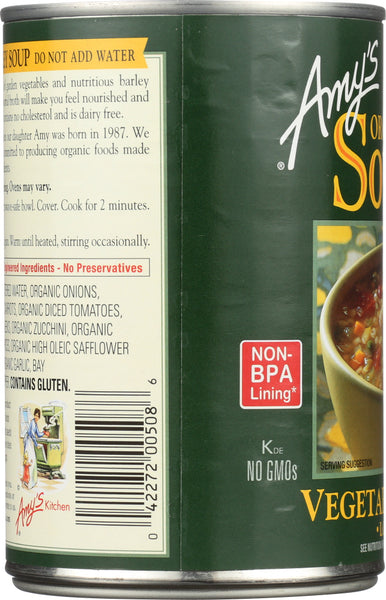 AMY'S: Organic Soup Low Fat Vegetable Barley, 14.1 oz