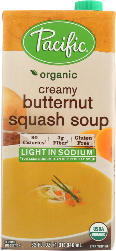 PACIFIC FOODS: Organic Creamy Butternut Squash Soup Light in Sodium, 32 oz