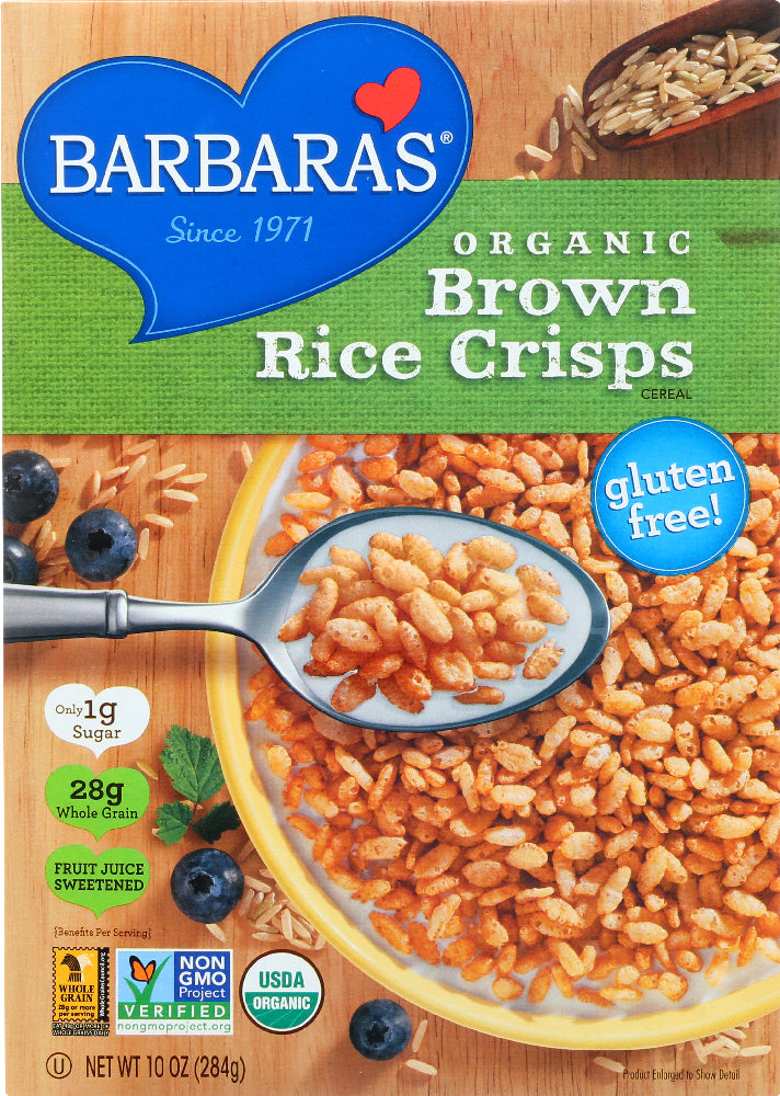 BARBARA'S: Organic Brown Rice Crisps Cereal, 10 oz