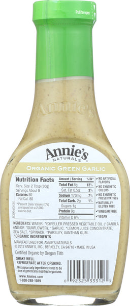 ANNIE'S NATURALS: Organic Green Garlic Dressing, 8 oz