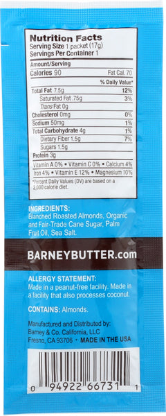 BARNEY BUTTER: All Natural Almond Butter Smooth, 0.6 oz