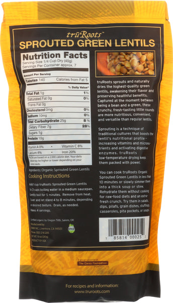 TRUROOTS: Organic Sprouted Green Lentil, 10 oz