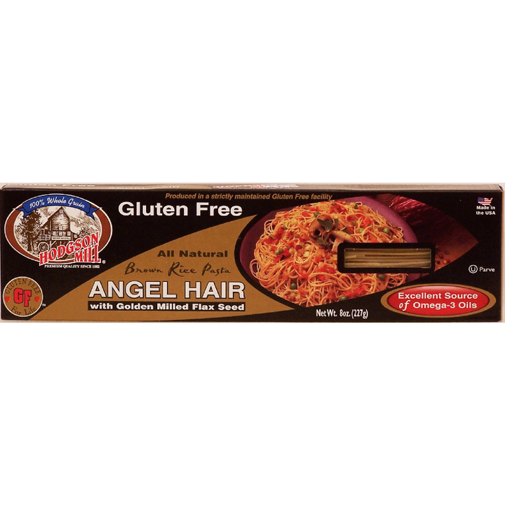 HODGSON MILL: Gluten Free Brown Rice Angel Hair Pasta with Golden Milled Flax Seed, 8 oz