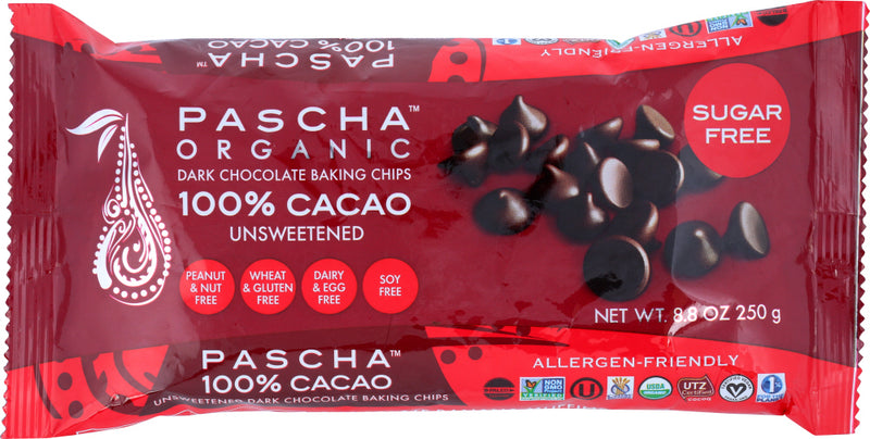 PASCHA: Organic Dark Chocolate Baking Chips Unsweetened, 8.75 oz