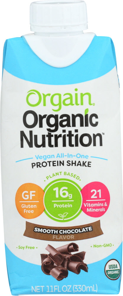 ORGAIN: Organic Vegan Nutritional Shake Smooth Chocolate, 11 oz